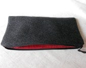 Wool Pencil Case Zipper Pouch Black Red Check Flannel
