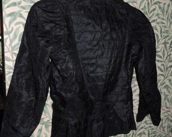 Victorian Era Black Silk Mourning Blouse