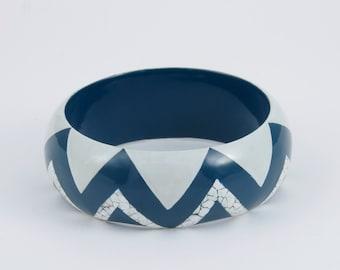 Bracelet EggShell   - Blue & White -