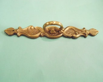Vintage French Provincial Dresser Drawer Furniture Pull Knob with Backplate Ornate 5 1/2 Inches Restoration Hardware Salvage