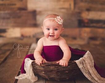 Newborn Photo Prop Set: Deep Cerise Knit Wrap and Free Headband for Newborn Photo Shoot, Maternity Wrap, Newborn Wrap,Newborn & Infant Photo