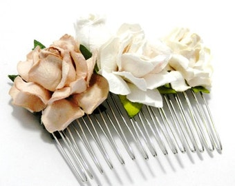 Cream Rose Mixed Floral White Ivory Vintage Style Flower Bridal Comb