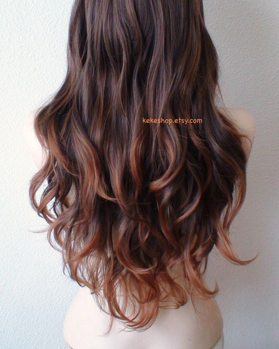 Ombre wig. Lace front wig. Brown/Auburn ombre wig. Long wavy Black Auburn Ombre Hair