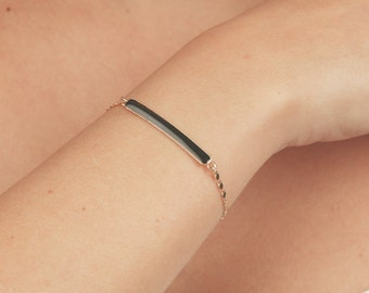 Black and Gold Bracelet Bar Bracelet dainty curved bar bracelet layering skinny bar bracelet gold filled everyday jewelry.