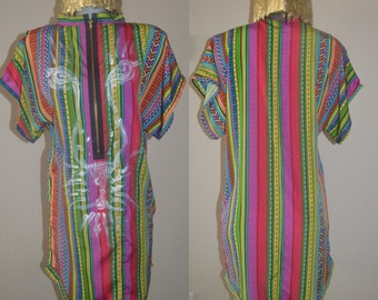 Tribal Print Tunic / Mini Caftan Dress w/ Tiger Painted Face