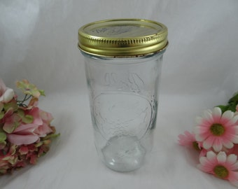 Large Wide Mouth Ball Sculptured Glass Mason Canning Glass Jar -  Wedding Decor