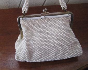White beaded purse, vintage white pearl purse, wedding brides handbag, small white handbag, formal evening purse