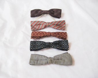 Vintage bow tie, mens clip on bow tie, burgundy gray stripe, rust