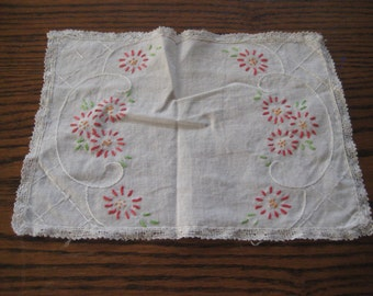 Embroidered doily, rectangle doily, red flowers, lace trim, country cottage