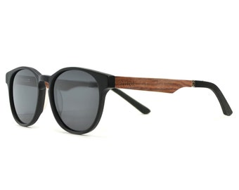 Real Wood Sunglasses, Women's Wood Sunglasses, Men's Black Frame Sunglasses-VLY-BLK