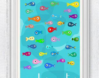 Wall decor Nursery  poster-Little fishes  - Kids bathroom wall decor - Nursery room modern  decoration SPNR018