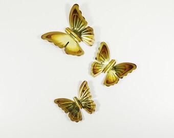 Vintage Brass Butterfly Set of 3