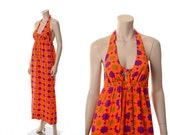 Vintage 60s 70s Mod Floral Halter Dress 1970s Atomic Flower Luau Maxi Dress Hippie Boho Festival Near Neon Beach Dress