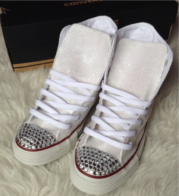 items similar to white glitter rhinestone converse shoes