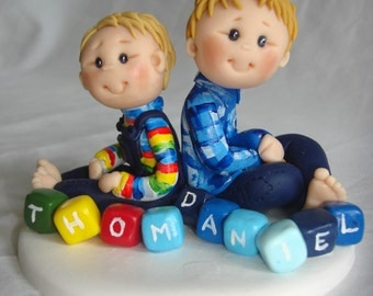 Fully Customised Boy Brothers/twins with Letter Block Names Christening cake topper - Baby boy Birthday Cake Topper