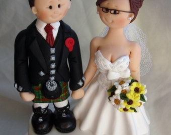 Scottish Groom in Tartan Kilt Wedding Cake Topper - Custom made bride and groom wedding cake topper