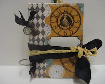 "Journal-Smash Book-Junk Journal-Album-Memory Book-5"" X 7""-Clocks-Timepieces"