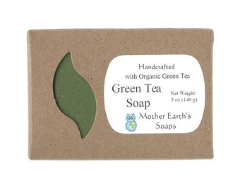 Green Tea Aromatherapy Soap with Raw Honey & Lemon Essential Oil