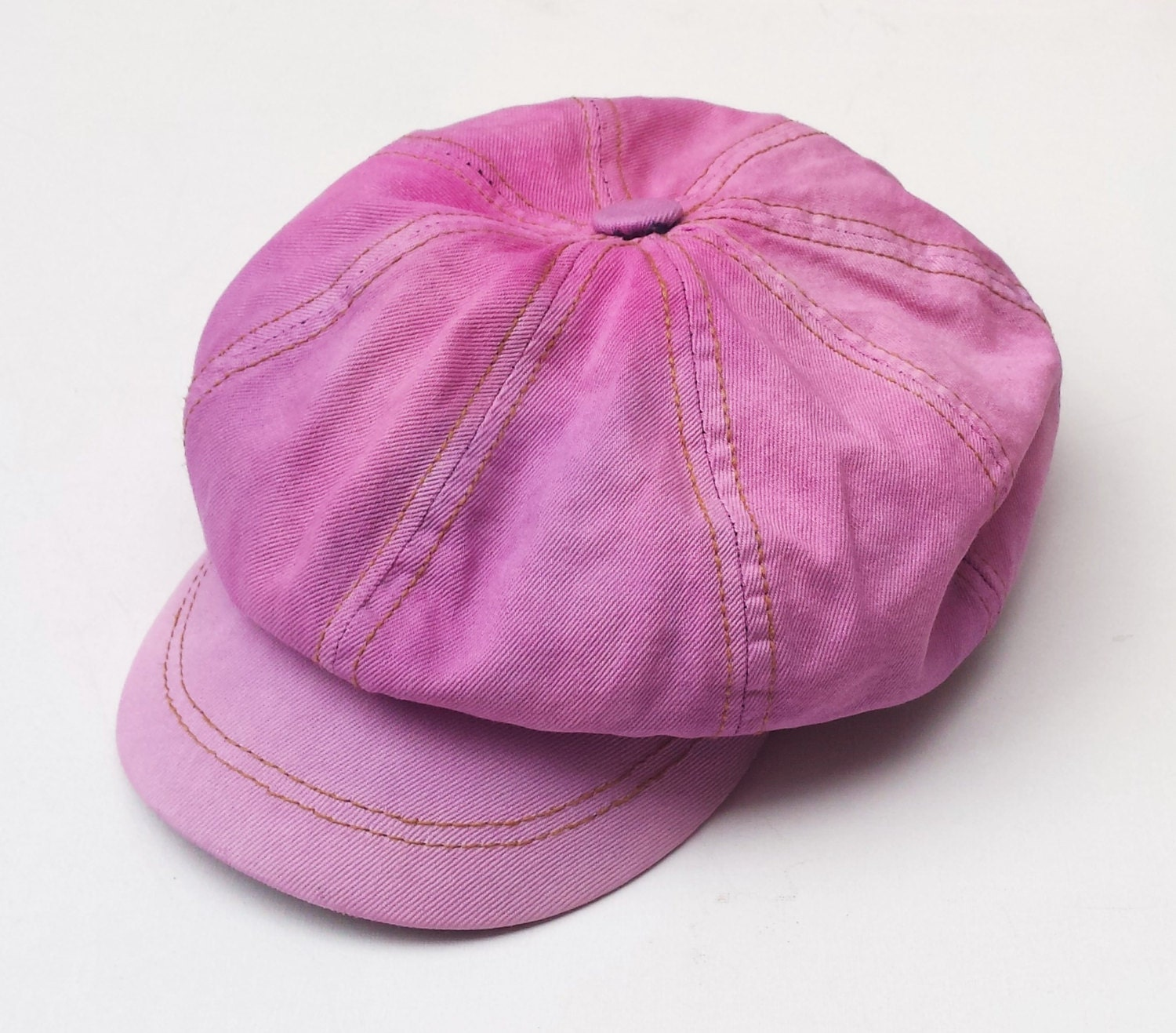 womens hat pink lavender denim baker boy hat cap one size