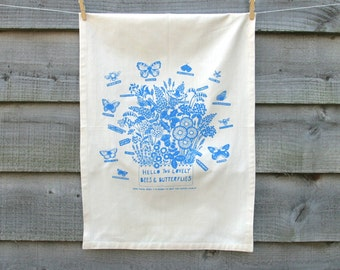 Organic cotton tea towel 'Hello bees and butterflies print' or wall hanging, with herbs and flower illustration.