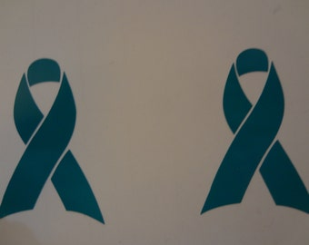 2 Ovarian Cancer Ribbon Decal Small Tiny Little Teal Car Glass In Memory Of Survivor Sticker Football Helmet Bicycle Bike Scooter Turquoise