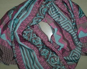 Small Scarf Indian Silk Sari Scarf Neck Scarf Turquoise Brown Pink SSF1