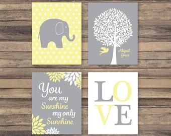 Baby Girl Yellow Grey Nursery Elephant You Are My Sunshine Personalized Art Prints, Soft Yellow, Gray, Set of 4 - 5x7, 8x10, 11x14 Unframed