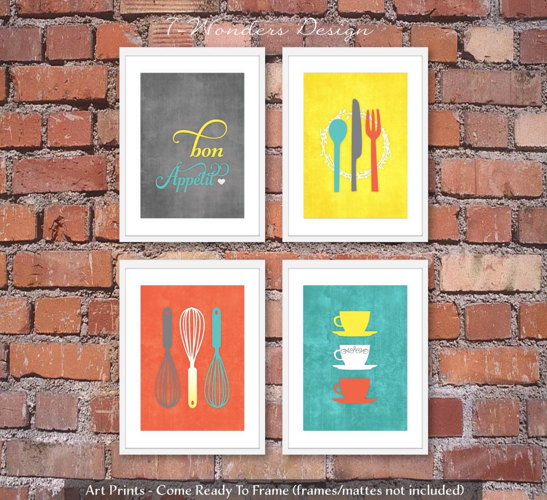 Modern Kitchen Art Set: Modern Kitchen Art Prints Bon Appetit Set Of 4 By