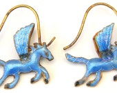 Vintage Early Laurel Burch Style 1970s NOS Cloisonné Enamel Puffy Winged Unicorn Pegasus Flying Horse Pierced Earrings Sterling Silver