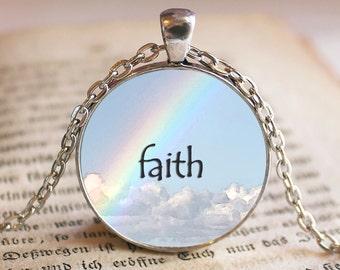 Faith Quote Pendant Necklace Jewelry Quotes Necklace Jewelry Faith Quote Jewelry Pendant Gift Religious Quote Rainbow