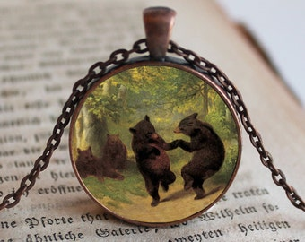 2 Bears Dancing Pendant, Pendant, Jewelry, Fairytale Pendant Necklace Jewelry, Necklace Jewelry, Alice Photo Jewelry Glass Pendant Gift