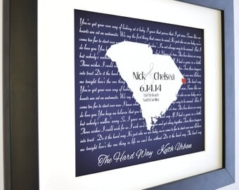 Wedding Song Art, Song Lyric Art Song Lyric Wedding Vow Art Wedding Vows Print 50th Anniversary Gift Personalized Wedding Gifts State Art