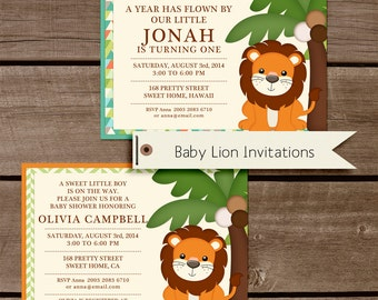 Baby Lion Birthday and Baby Shower Invitations