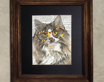 Dictionary Print: Pious Norwegian Forest Cat, Steampunk Cat Artwork