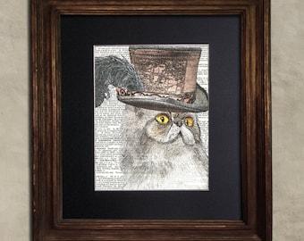 Dictionary Print: Pettish Grey Persian Cat, Steampunk Cat Art Print