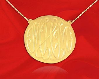 Monogram Necklace - 1 inch 24K Gold Plated Sterling Silver Hand Engraved - Personalized Monogram Necklace - Made in USA