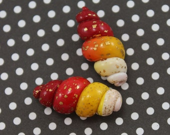 Spiral beads, Polymer Clay beads in red orange, yellow and  white, Spring shape unique beads,  set of 2 ombre beads with gold tiny dots