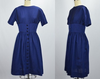 1960s Vintage Black and Blue Striped Day Dress with Cute Button Details Bust 38