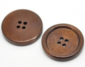 """6 Reddish Brown 4 Holes Round Wood Sewing Buttons 30mm(1 1/8"""")Dia. Pack of 6 PWB58"""