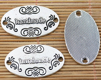 14pcs tibetan silver oval shaped handmade lettering connector EF1510