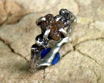 Womans Engagement Ring Natural Diamond Organic Oak Twig Silver  Jewelry Handmade  Ring