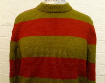 Crew Neck Sweater Jumper Hand Knitted, Freddy Kruger Movie Versions Part I to VII Sweaters, Fancy Dress Cosplay Sweater