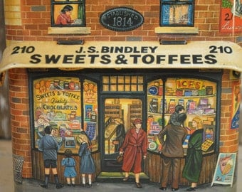 Antique English Candy Tin Storage JS BINDLEY Sweets and Toffee all sided english store tin great graphics Fold Out Awing on tin classic