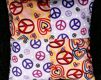 Pink/Purple Peace Squares Pillow (Bean Filled)