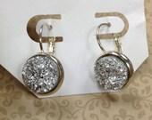 Faux Druzy Earrings Silver Ash Hematite