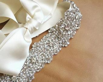 Rhinestone + Pearl Wedding Sash - Prom Sash - RHODE ISLAND - Crystal Sash