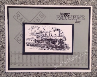Happy Father's Day card with steam train  B11-3