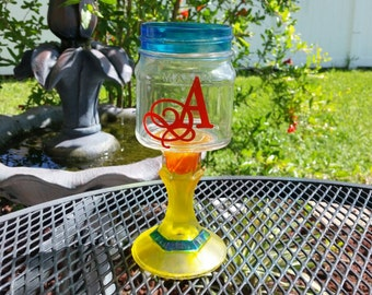 Monogrammed Mason Jar Wine Glass - Colored Glass - Frosted Yellow - Turquoise  ONE GLASS - Weddings - Bachelorette Parties- Birthday Party