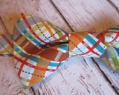 Boys Bow Tie- Toddler Plaid Bow Tie- Micheal Miller Plaid- Summer Bow Tie- Adjustable Velcro Strap- Birthday Cake Smash, Photo Prop Bow Tie