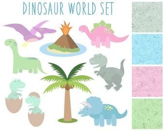 Dinosaur Clipart, Kids Clip art, Volcano, Palm Tree, T-Rex, Animal Clipart, Dinosaurs, Dinosaur World Clipart, Digital Papers, Textures